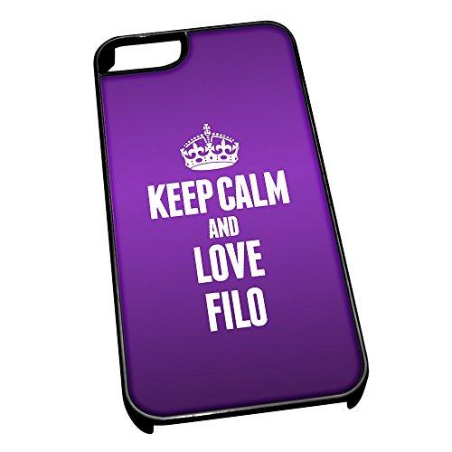 Nero cover per iPhone 5/5S 1085viola Keep Calm and Love filo