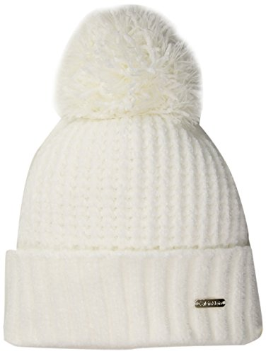 Calvin Klein Women's Chenille Beanie With Pom Accessory, Cream, One Size (Scarf Chenille White)