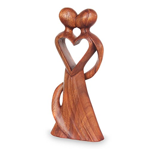 NOVICA Large Brown Romantic Suar Wood Sculpture, 11.75