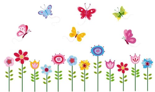 - Bright Butterfly Garden Decorative Peel & Stick Wall Art Sticker Decals