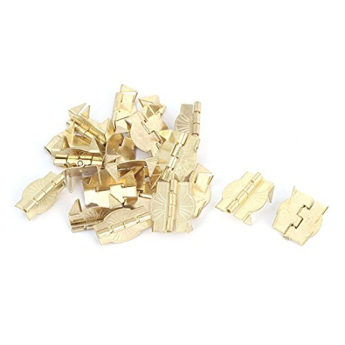 DealMux Closet Cabinet 22mm x 19mm Door Butt Hinge Gold Tone 20PCS