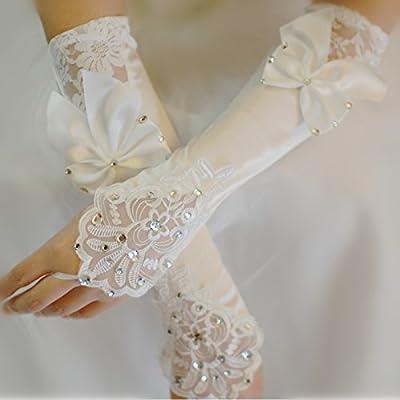 ZLYAYA gants mitaine Gants de mariage long bow printemps été robe de mariage mariée accessoires gants blanc satin dentelle sans doigts