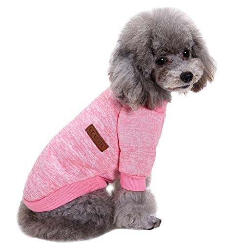 CHBORLESS Pet Dog Classic Knitwear Sweater Warm Winter Puppy Pet Coat Soft Sweater Clothing for Small Dogs (L, Pink)