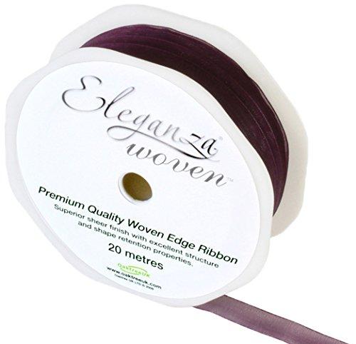 Eleganza 10 mm x 20 m Woven Edge Ribbon, Aubergine by Eleganza (Mm Edge 10 Woven)