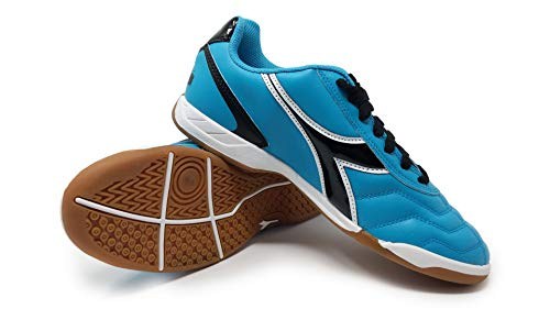 Diadora Women's Capitano ID Indoor Soccer Shoes (7.5 Wide, Columbia Blue/Black)