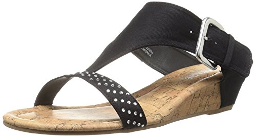 Rampage Women Sheryl Demi Wedge T-Bar Slip-On Thong Sandal Black Canvas