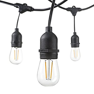 Hudson Lighting.. - LED Patio String Lights - 48 Foot - 3 Year Warranty - Weatherproof Outdoor Edison String Lights - UL Listed - 15 Hanging Sockets - Black -15 / S14 Dimmable LED Bulbs Included