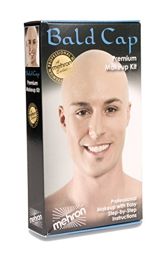 Bald Makeup (Mehron Bald Cap Makeup Kit Professional Bald Cap Set W Instructions KMP-BC)