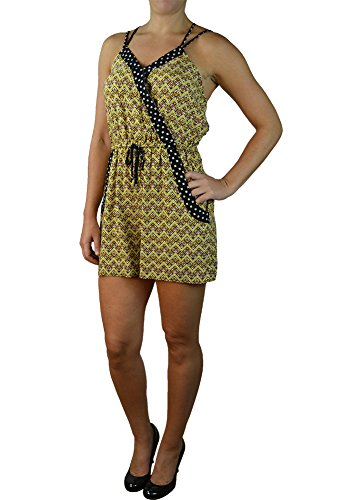 Alfa Global Women's V-Neck Rayon Short Romper with Straps (XL, Yellow/Black)