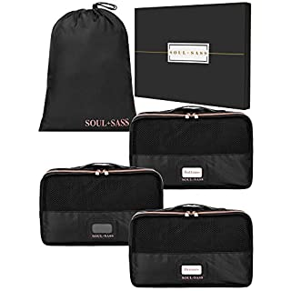 Soul + Sass Travel Packing Cubes for Suitcases - Set of 4, Black with Rose Gold Zipper - Organizer Bags for Clothes and Toiletries with Laundry Bag
