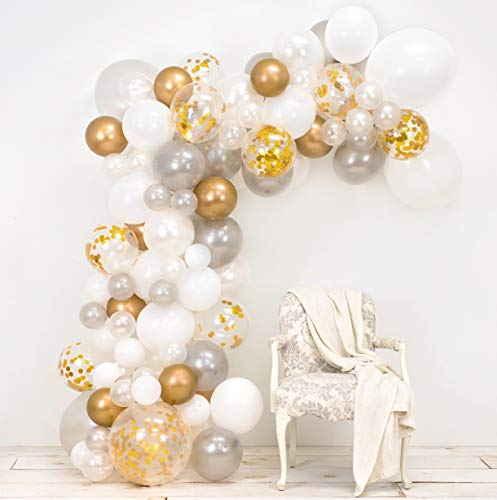 Junibel Balloon Arch & Garland Kit | Pearl White, Chrome Gold Confetti & Silver | Glue Dots | Decorating Strip | Holiday, Wedding, Baby Shower, Graduation, Anniversary Organic DIY Party Decorations ()