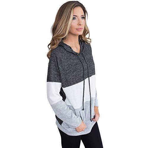 Gray Lunga Autunno Colore Donna Manica Pullover Casual Cappuccio Wuyea Felpa Sport Matching WzPSUz8Rn