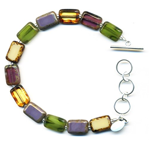 Beaded Bracelet in Vineyard Mix, Colorful Glass Tiles, Sterling Silver Adjustable Length Toggle Clasp, One Size Fits Most Glass Beaded Toggle