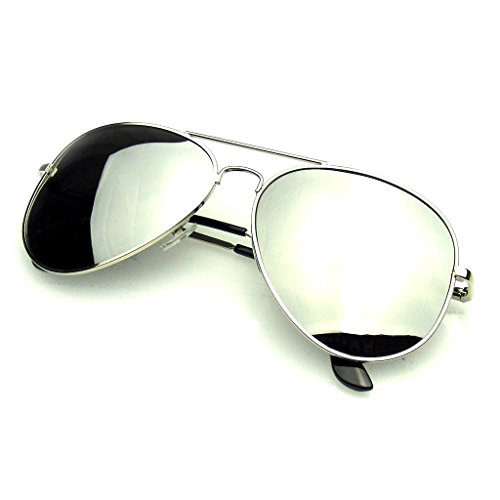 Emblem Eyewear - Polarized Full Mirror Aviator Silver Sunglasses