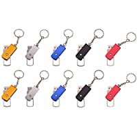 FEBNISCTE 10 Pack 8GB Metal Swivel USB2.0 Flash Memory Drive with Keychain - 5 Color Assorted