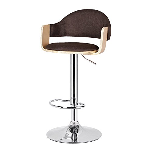 Asense 23''-32'' Adjustable Swivil Chrome Base Bentwood Armrest PU or Fabric Back Bar-Stool ()