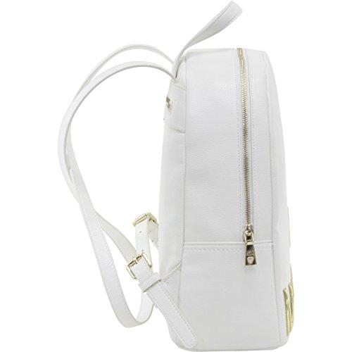 Borse Donna LOVE MOSCHINO in pelle saffiano, tracolla regolabile, scritta dorata frontale, chiusura con zip, tasca posteriore con zip Bianco