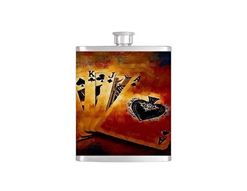 Poker Playing Cards Whiskey Flask Hearts Las Vegas Gambling Bachelor Party Stainless Steel 8 oz Liquor Hip Flasks - Flask #82 (Playing Cards Wedding Personalized Favors)