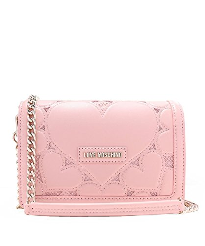 Love Moschino Women's Leather Fold Over Clutch Bag One Size Pink by Love Moschino