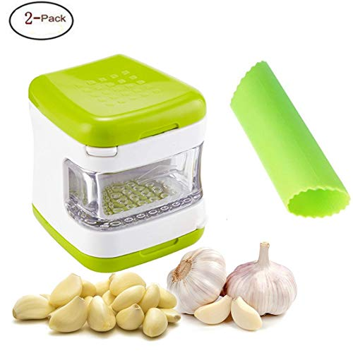 Garlic Press and Silicone Garlic Peeler- with Storage Container and Built- Durable & Sturdy Construction with Stainless Steel Blades, Dishwasher Safe