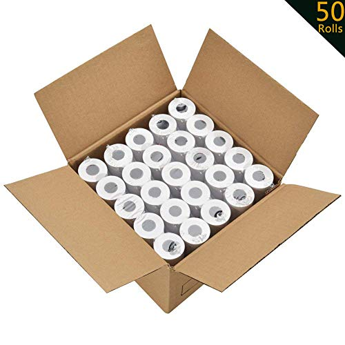 2 1/4 Thermal Paper 50 Rolls for Credit Card Machine POS Cash Register Receipt Paper Roll 1-Ply Bond(2-1/4