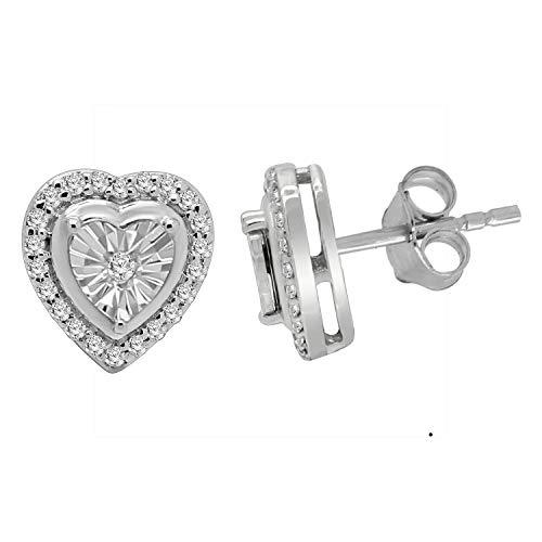 omega jewellery 925 Sterling Silver Round Diamond Cluster Heart Stud Earrings for Women (0.24 ()