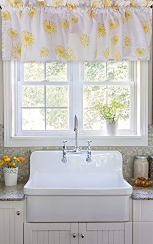 Crabtree Collection Yellow Dandelion Curtain Valance for Windows (16x60)