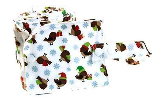 Dernier rouleau de papier toilette lavable blanc avec des oiseaux marrons et des flocons de neige - rouleau 20 feuilles