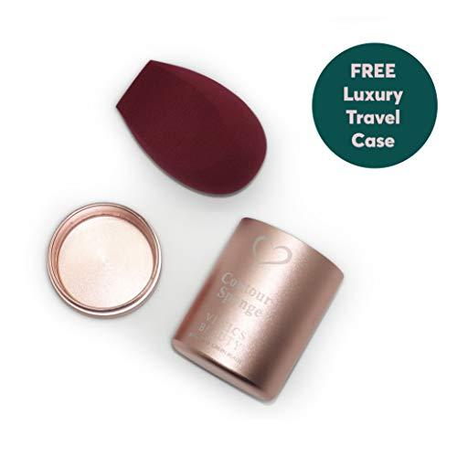 VENICS Beauty Sponge with Luxury Travel Case | Contour Sponge | Latex Free | Sponge Holder | Blender Holder | Protective Carrying Case ()