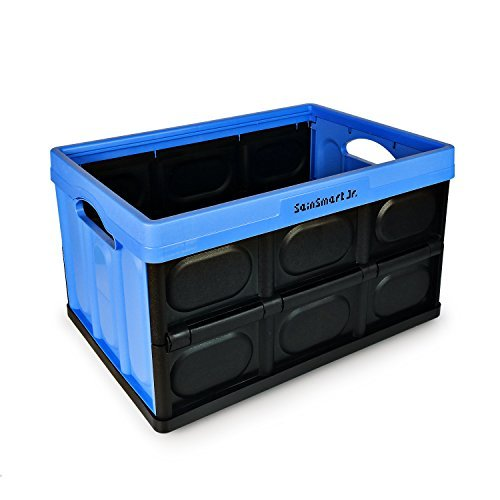 SainSmart Jr. Contenedor de Almacenamiento Plegable de 46 litros, Plegable, Caja de contenedor con Bolsa (Azul)