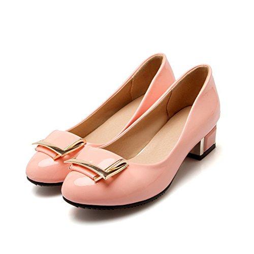 VogueZone009 Damen PU Leder Niedriger Absatz Rund Zehe Rein Ziehen auf Pumps Schuhe Pink