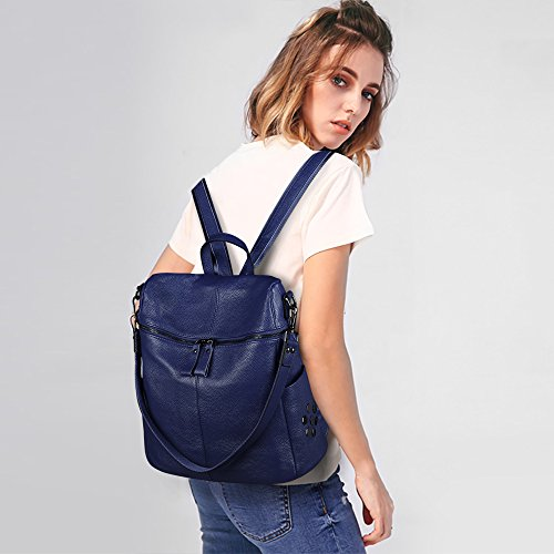 Casual Blue Bag Shoulder Genuine ZONE Leather Purse Backpack Women Medium S vXqgf