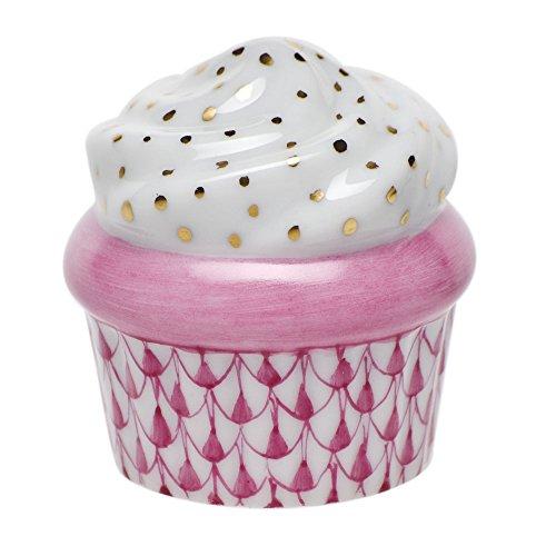 (Herend Porcelain Cupcake Figurine Raspberry Fishnet)