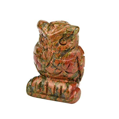 Clearance ! Vanvler 1Pcs Hand Carved Owl Jade Gemstone Ornament Craft Paperweight Decorative 1.5 Inch (A)