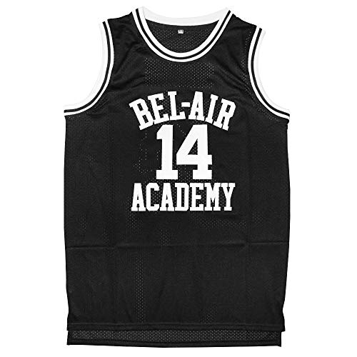 Will Smith 14 The Fresh Prince of Bel Air Academy Basketball Jersey S-XXXL (Black, XXL)