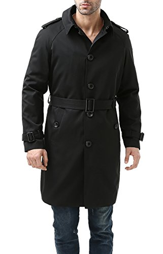 BGSD Waterproof Traditional Single Breasted Trench Coat for Men with Removable Liner,Black,XX-Large