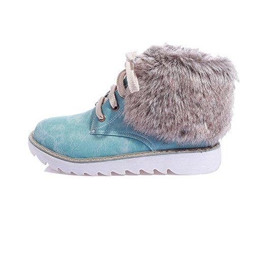 Allhqfashion Mujer Low-top Con Cordones Material Suave Low-heels Round Botas Con Punta Cerrada Azul