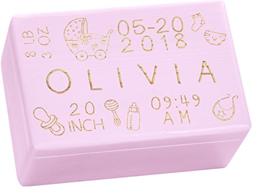 LAUBLUST Engraved Wooden Memory Box - Size L, 12x8x6in - ❤️ Personalized ❤️ Baby Keepsake Box - Rattle Design | Pink - Made in ()