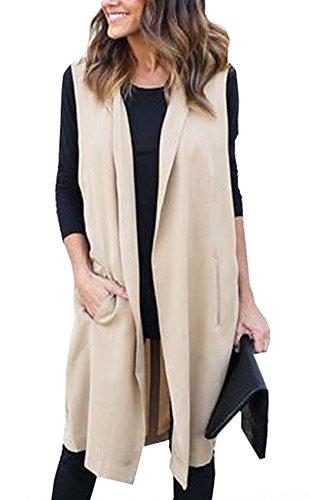 Simple-Fashion Femme Fashion Couleur Unie Coupe-Vent Overcoat Cardigan sans Manches Longue Manteaux avec Ceinture Kaki