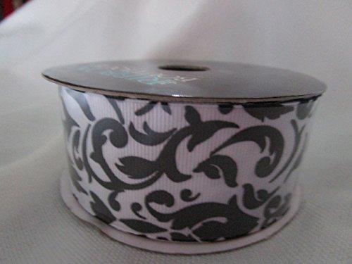New, White with Black Scrolling Vine Decorative Ribbon, 3 Yard Bolt Designer -