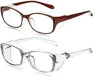 OKDEALS 2Pack Anti Fog Safety Goggles Glasses for Women Men,Blue Light Blocking Eyeglasses,Anti Pollen Safety