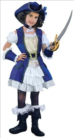 [Blue Pirate Girl Child Costume - Small (4/6)] (Scallywag Pirate Costume)