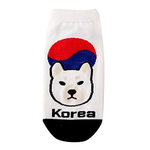 Women's Crazy Cool Funny Novelty Cute Sock,Casual No Show Socks,American Flag National Flag Cartoon Socks(B)