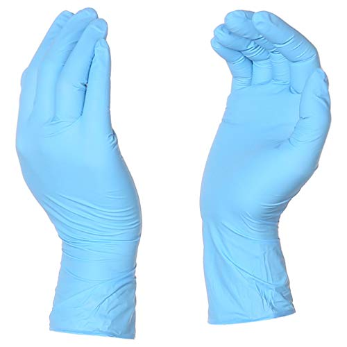 (AmazonBasics Powder Free Disposable Nitrile Gloves, 5 mil, Blue, Size L, 100 per Pack, 10-Pack)