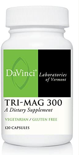 Davinci Laboratories Tri-Mag 300mg Magnesium Taurate Glycinate Malate Support Supplement, 120 Capsules - Relaxation, Stress and Anxiety Support - Vegetarian, Non-GMO Ingredients