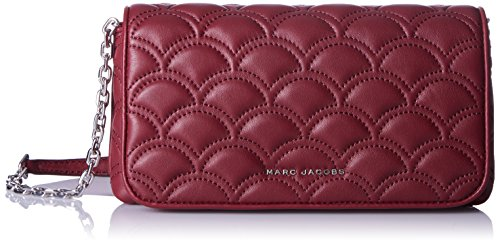 Marc By Marc Jacobs Leather Clutch (Marc Jacobs Matelasse On Crossbody Chain Wallet, Deep Maroon, One Size)