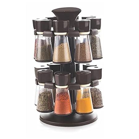 NUBELA Capital 16 Jar Revolving Plastic Spice Box  Brown, Spice_rack 16pcs CK 364  Kitchen Storage   Containers