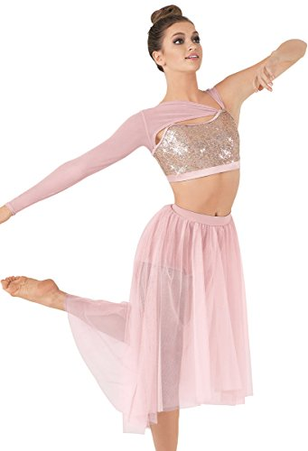 [Balera Dance Bra Top Hologram Sequins with Attached Asymmetrical Mesh Shrug] (Dance Costumes For Competition For Adults)