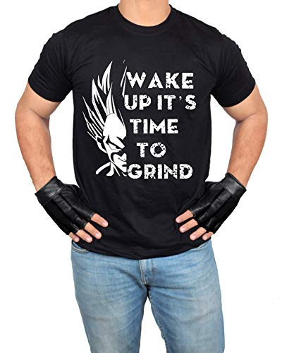 Miracle Mugs Gym Workout Black Mens Shirt - Adult Wake Up Grind Athletic Tshirt (XL) (Volleyball Yellow T-shirt)