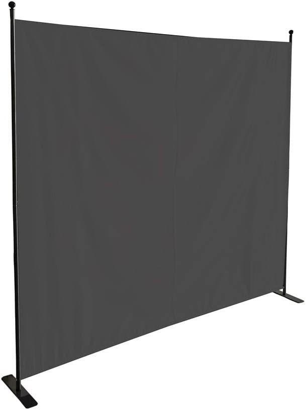 STEELAID Flat Leg Gray Single Divider Office Partition Room Divider Classroom and Dorm Privacy Screen 6 Ft Portable Partition Screen Fire Proof Complete Non See Through Fabric
